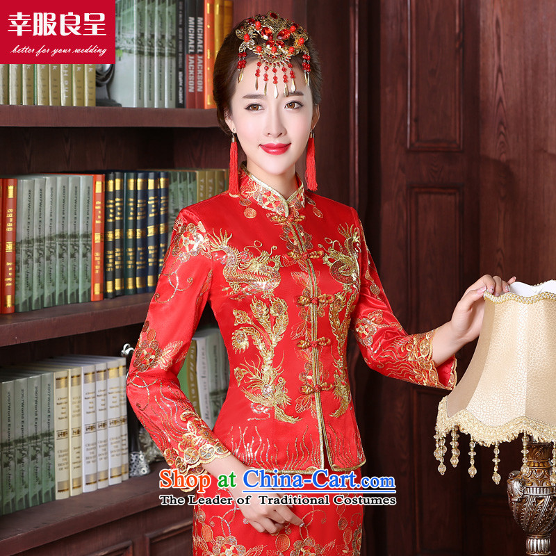 The privilege of serving good red bows service bridal dresses wedding dress Autumn Chinese wedding gown improved long dragon use su wo service female 9 S, honor the cuff crowsfoot skirt services-leung , , , shopping on the Internet
