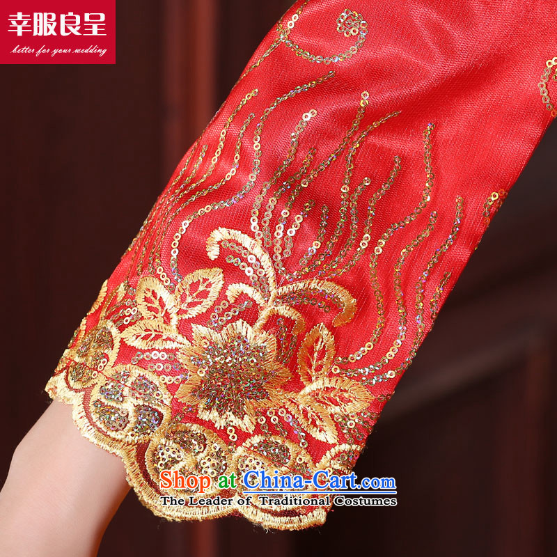 The privilege of serving good red bows service bridal dresses wedding dress Autumn Chinese wedding gown improved long dragon use su wo service female 9S, honor the cuff crowsfoot skirt services-leung , , , shopping on the Internet