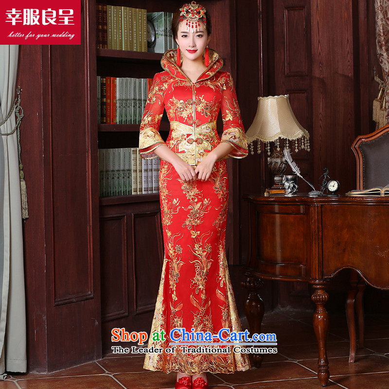 The privilege of serving good red bows to skirt the new 2015 cheongsam with Sau Wo Service Bridal Chinese wedding dress long wedding dress code of 7 large long-sleeved crowsfoot skirt 2XL