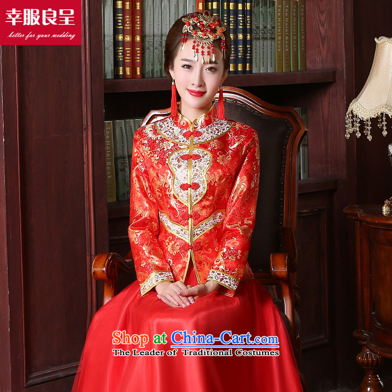 The privilege of serving-leung bows services red brides fall 2015 new qipao Chinese wedding dress long improved services the lift mast to women stylish 9 sleeve length dress S