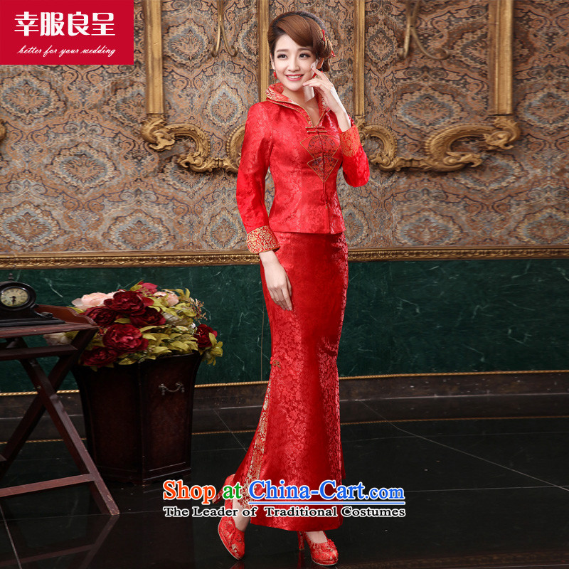 The privilege of serving the bride-leung qipao bows services wedding dress new 2015 autumn and winter retro long-sleeved Chinese wedding gown, long winter skirt?M