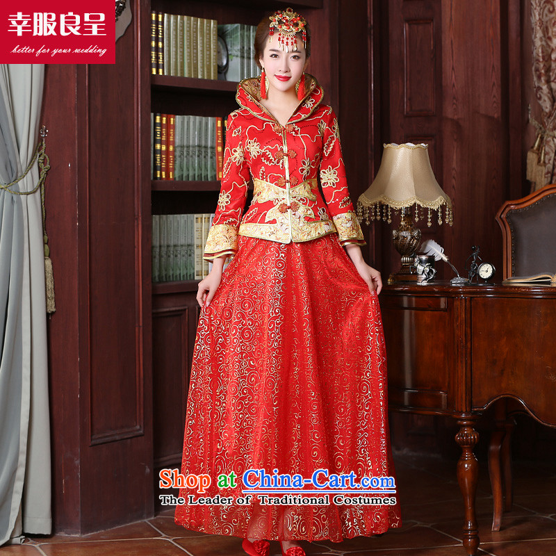 The privilege of serving-leung wedding dress qipao 2015 Fall_Winter Collections new bride bows long service improvement Chinese long-sleeved wedding gown of 9 to Red Sleeve length of stamp skirt燲L