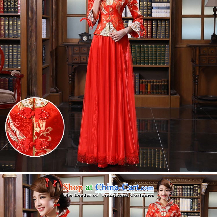 The privilege of serving the bride-leung qipao bows services wedding dress Chinese wedding dress 2015 Fall/Winter Collections of new long sleeve length of 9 to 4XL Photo dress, prices, brand platters! The elections are supplied in the national character of distribution, so action, buy now enjoy more preferential! As soon as possible.
