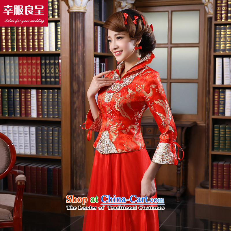 The privilege of serving the bride-leung qipao bows services wedding dress Chinese wedding dress 2015 Fall_Winter Collections of new long sleeve length of 9 to dress 4XL