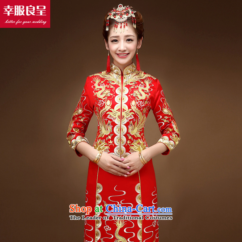 The privilege of serving the dragon-leung SOO wo service use bows long service bridal dresses 2015 New Chinese wedding dress wedding dress female skirt use red燲L