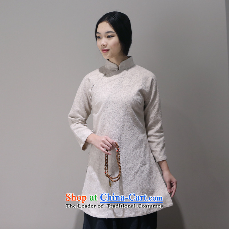 Arts and cultural nouveau collar Chinese shirt China wind is pressed to Chinese qipao shirt guqin serving tea person S m White