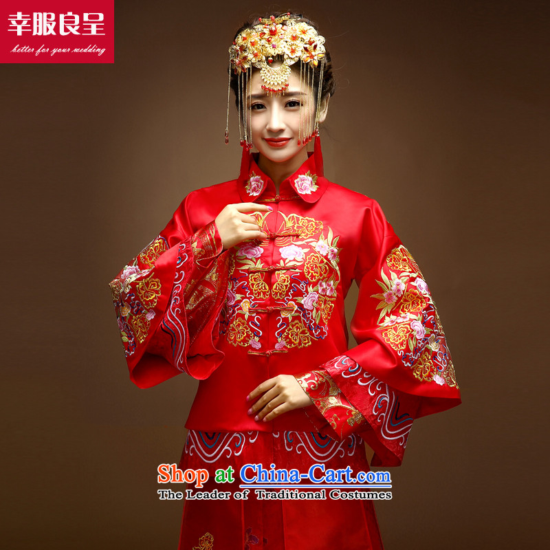 The privilege of serving-leung SOO Wo Service Chinese wedding dress bows service wedding dress girl brides cheongsam long improved Su-Tang dynasty and long-sleeved red?M