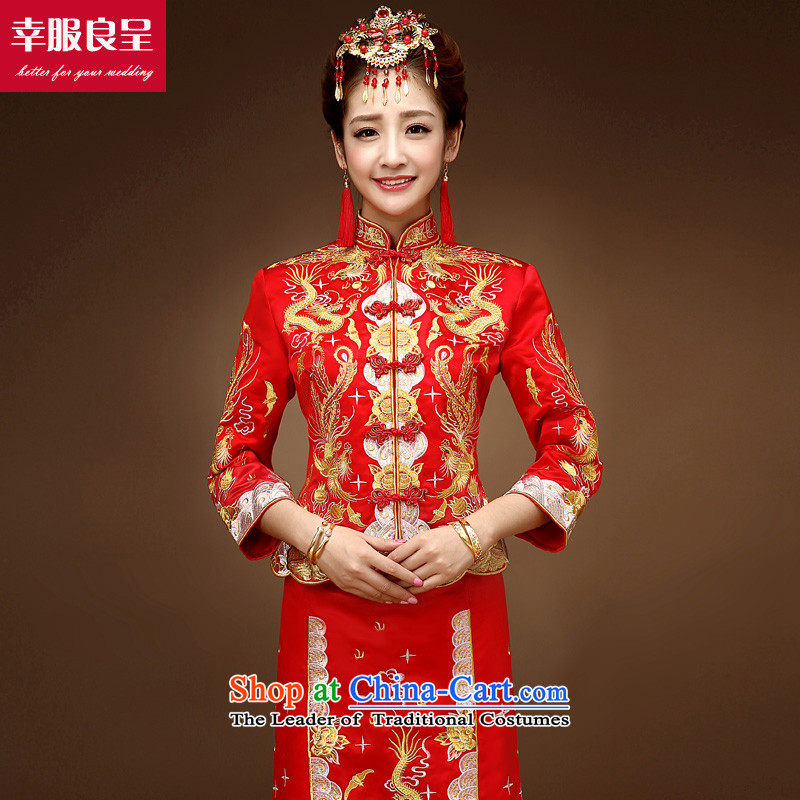 The privilege of serving the dragon-leung also use su Wo Service skirt bows service bridal dresses improved Chinese wedding dress red wedding dress female retro RED M