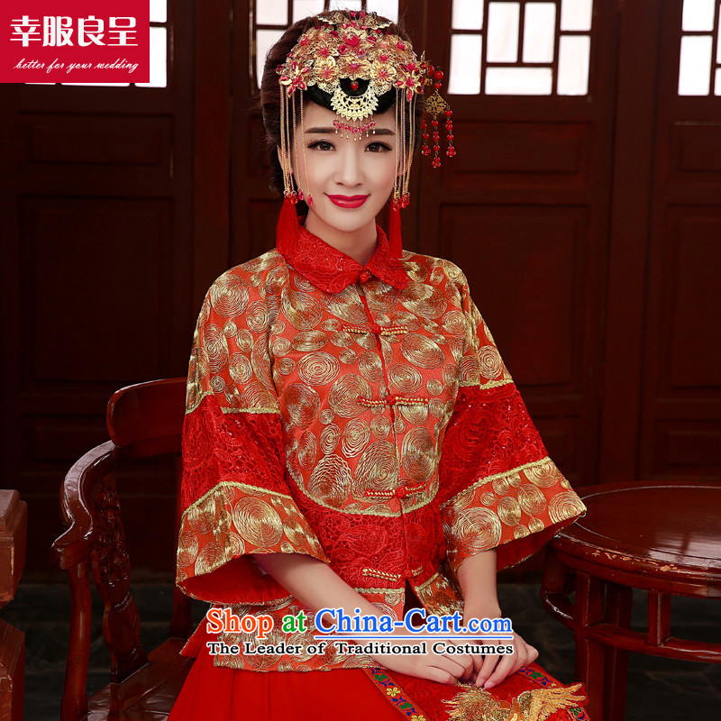 The privilege of serving-leung SOO Wo Service Service Chinese wedding gown bows wedding dress girl brides cheongsam long Tang Dynasty to the dragon use skirt use long-sleeved red燤