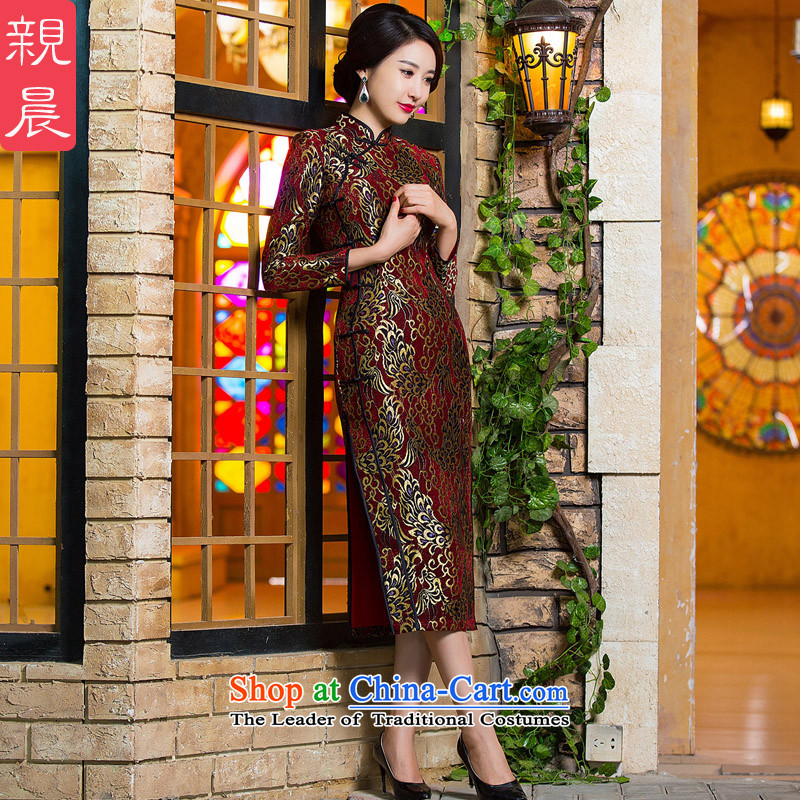 Gold velour robes Fall/Winter Collections daily long-sleeved stylish improvements Sau San lace golden phoenix retro long skirt RED?M