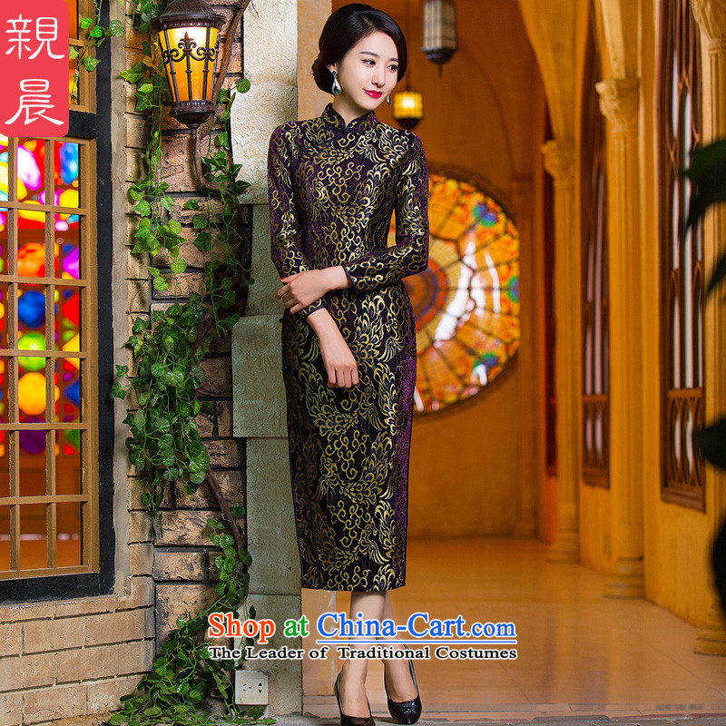 Gold velour robes Fall_Winter Collections of Sau San lace long-sleeved stylish improved golden phoenix daily antique dresses purple M