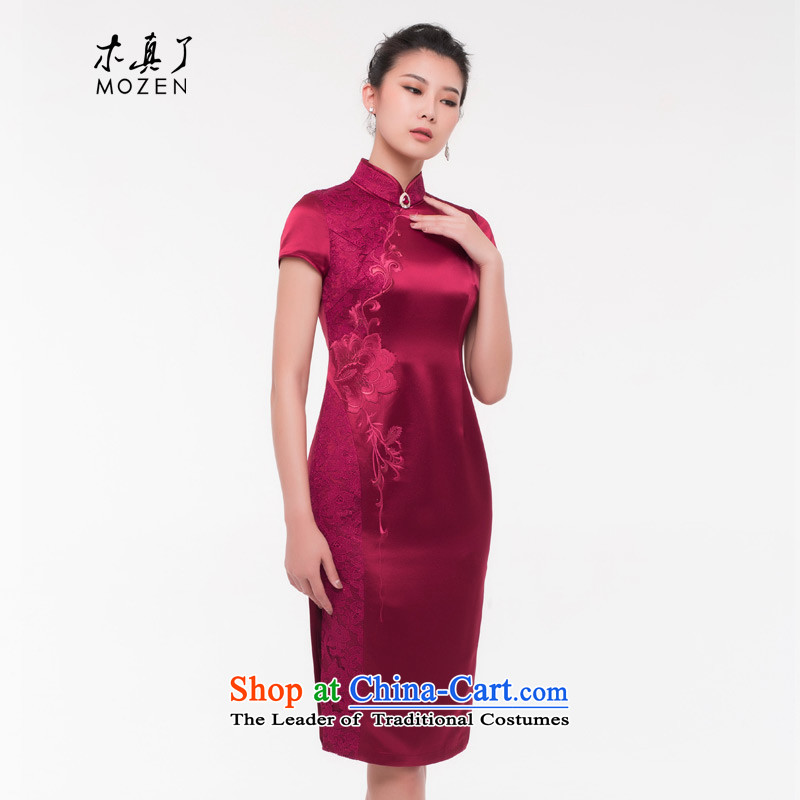 Wooden really of going back to the mother with a banquet of Sau San qipao gown long 2015 autumn and winter new Chinese Tang dynasty 0813 04 deep red?L