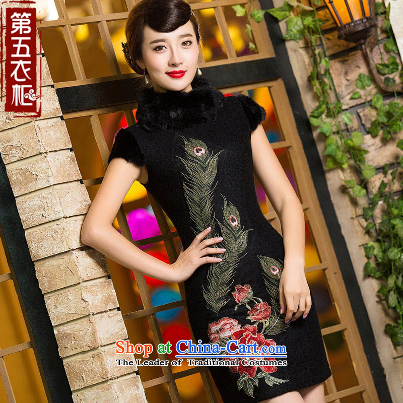 Eason Chan point cheongsam dress 2015 new winter clothing improved stylish thick hair for Chinese embroidery Sau San short of daily Starke robe black燣