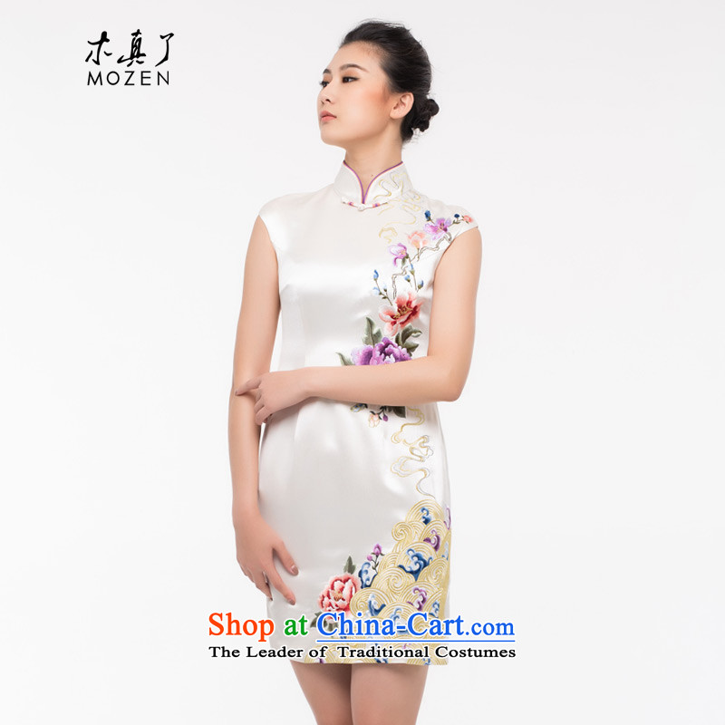 The Tang Dynasty outfits wood really improved cheongsam dress 2015 autumn and winter new stylish and elegant qipao embroidery Sau San dress 0907 Cream?XL