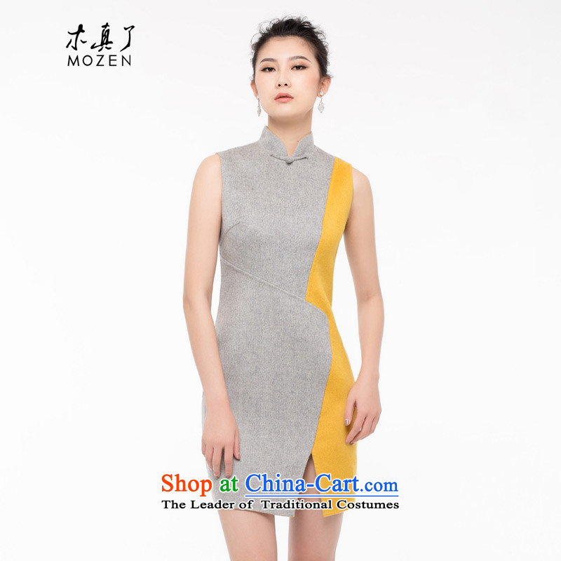 The nostalgia for the improvement of wood really double-side-wool cheongsam dress 2015 autumn and winter New Color Plane Collision Female dress Sau San 093007 Light Gray XL