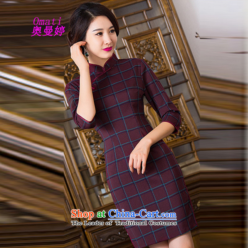 Aumain Ting autumn replacing pure cotton qipao 2015 New Pure Cotton qipao republic of korea wind load children arts improved Stylish retro short of Sau San wine red checkered M