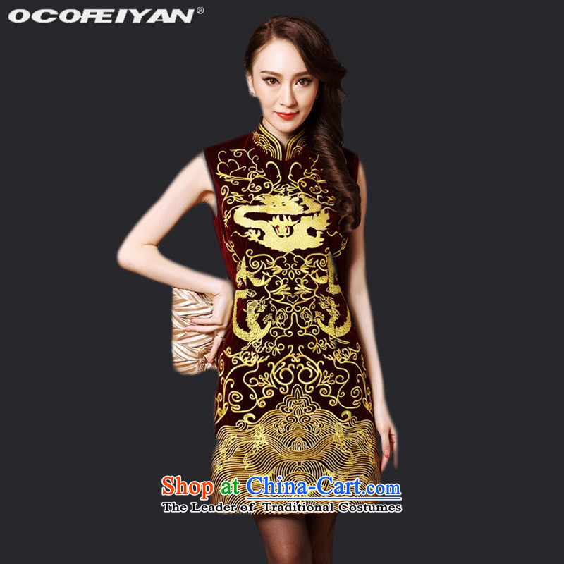 The main new autumn 2015 female Mother Superior retro fitted sleeveless embroidery velour totems cheongsam dress BOURDEAUX?XL