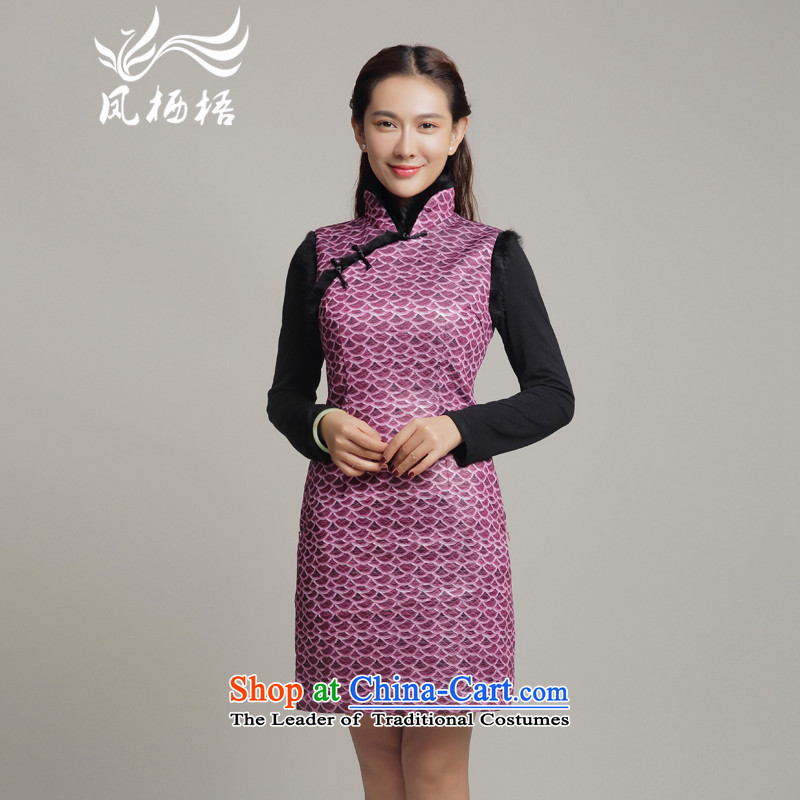Bong-migratory winter 7475 2015 new folder qipao cotton retro style qipao skirt for everyday qipao DQ15248 gross purple?XXL