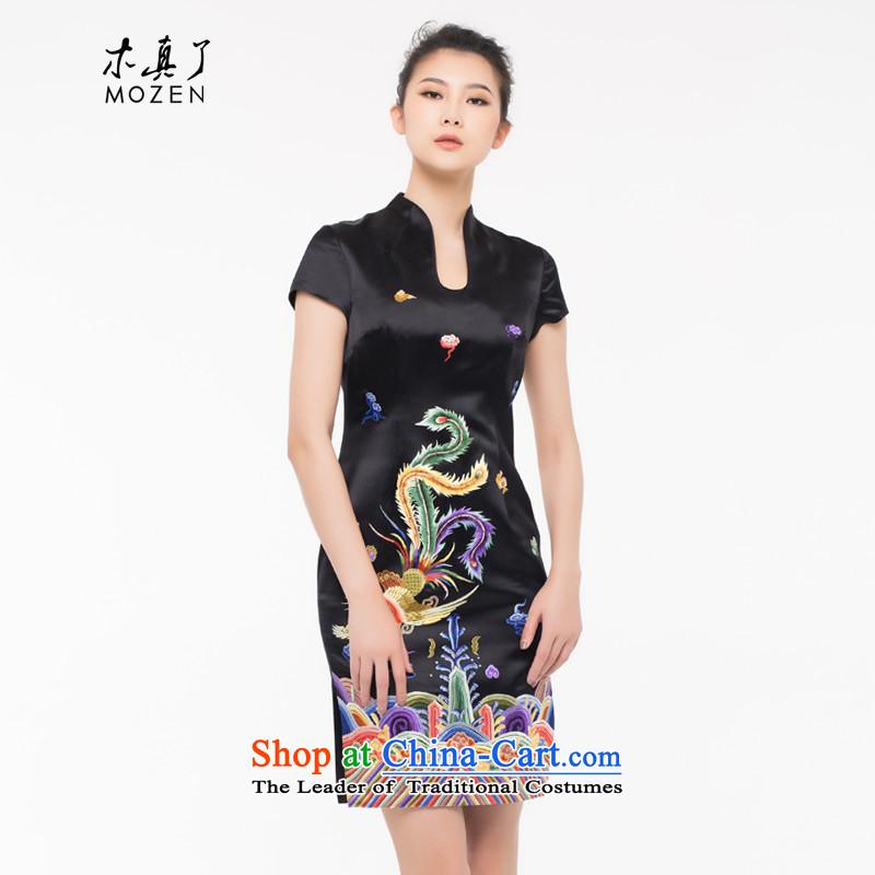 The cheongsam dress wood really chinese women 2015 autumn and winter new wealth embroidery Phoenix cheongsam dress Xiangyun 0908 01 Black?XL