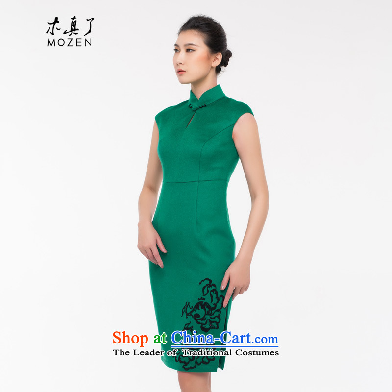 The cheongsam dress wood really Chinese girl who decorated retro wool cheongsam dress autumn 2015 0937 with short dark green Xxl_b_ Dress