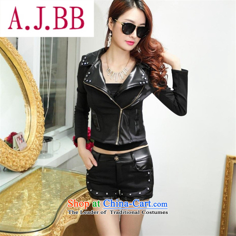 Only the 2015 autumn costumes vpro inside the new personality Sau San PU stitching long-sleeved sweater pants two kits of the lint-free of black聽M,A.J.BB,,, shopping on the Internet