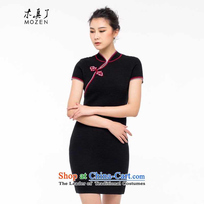 Wooden really of going back to the autumn 2015 installed new QIPAO) Ethnic Women wool elasticity Sau San dresses 1301 01 Black�M