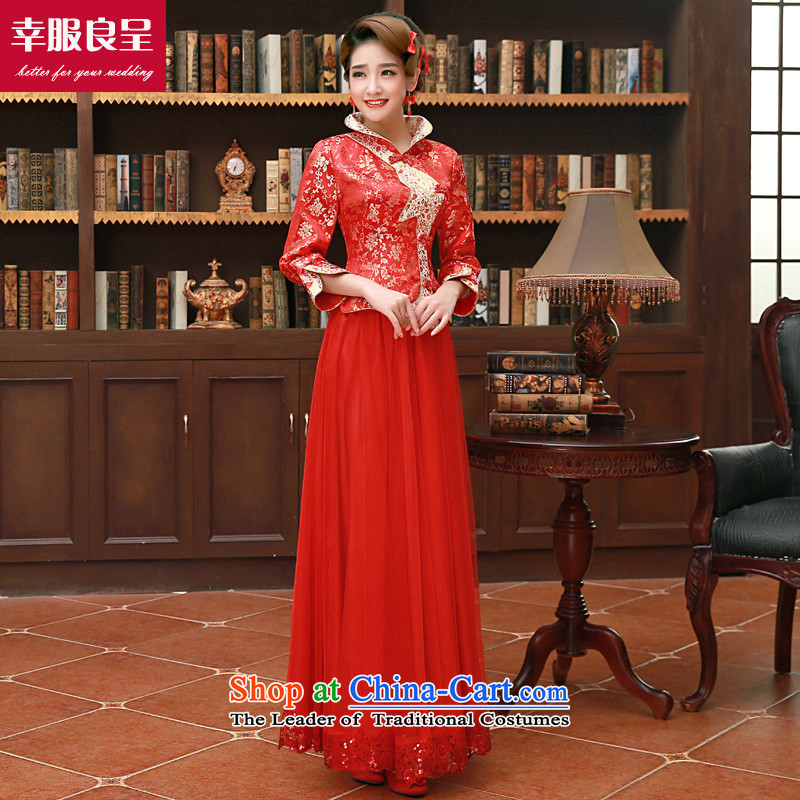 The privilege of serving good red bows to Chinese wedding dress girl brides qipao 2015 Fall_Winter Collections new short_ back to the door onto the wedding dress winter long dress + model with 26 Head Ornaments?3XL