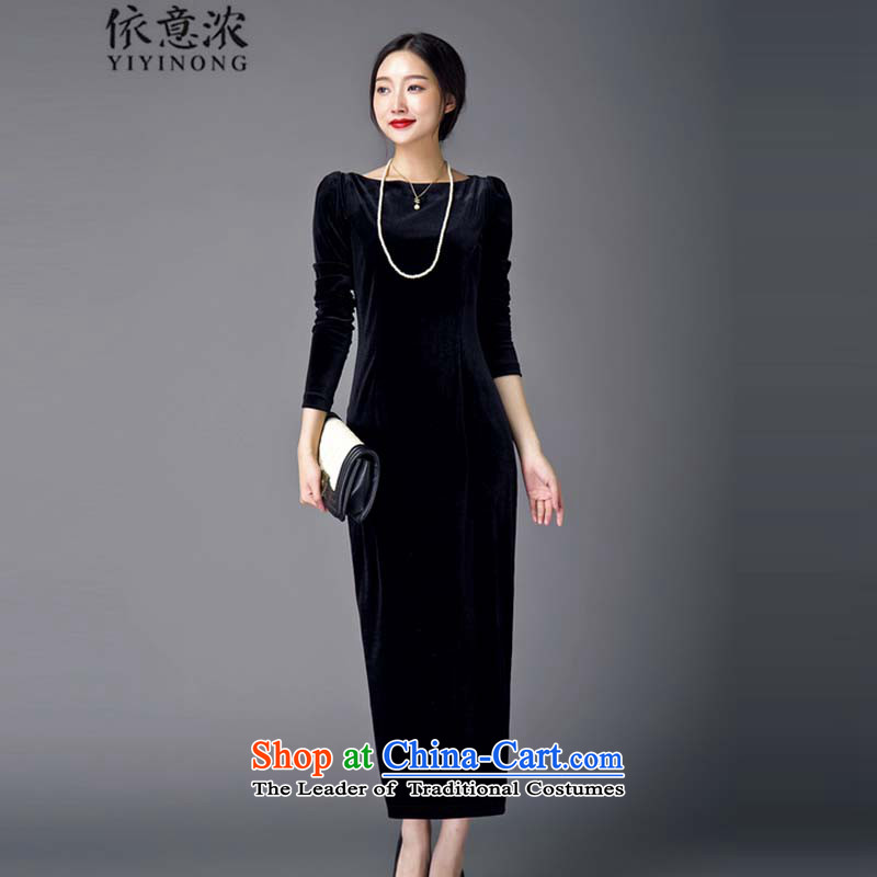 In accordance with the? 3151-2015 concentrated to the autumn and winter retro cheongsam dress up Sau San velvet gown skirt black?M