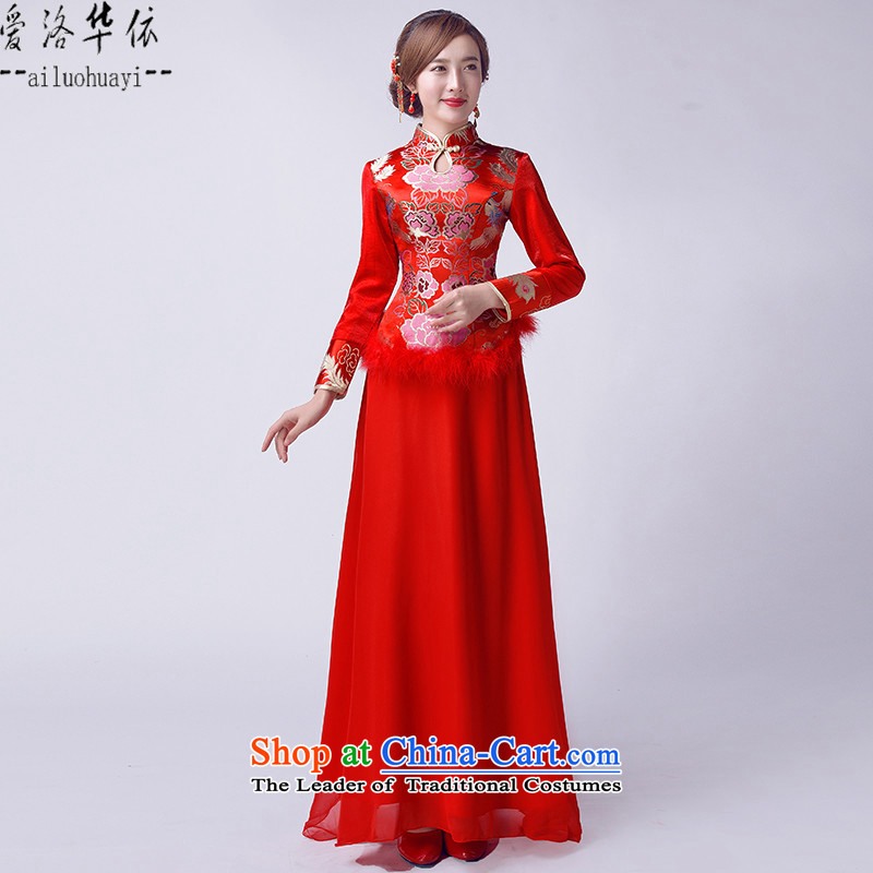However, the new 2015 service for winter red Chinese cheongsam dress retro Bridal Suite plus cotton long-sleeved evening embroidery classical Chinese qipao improved wedding gown bride red?S