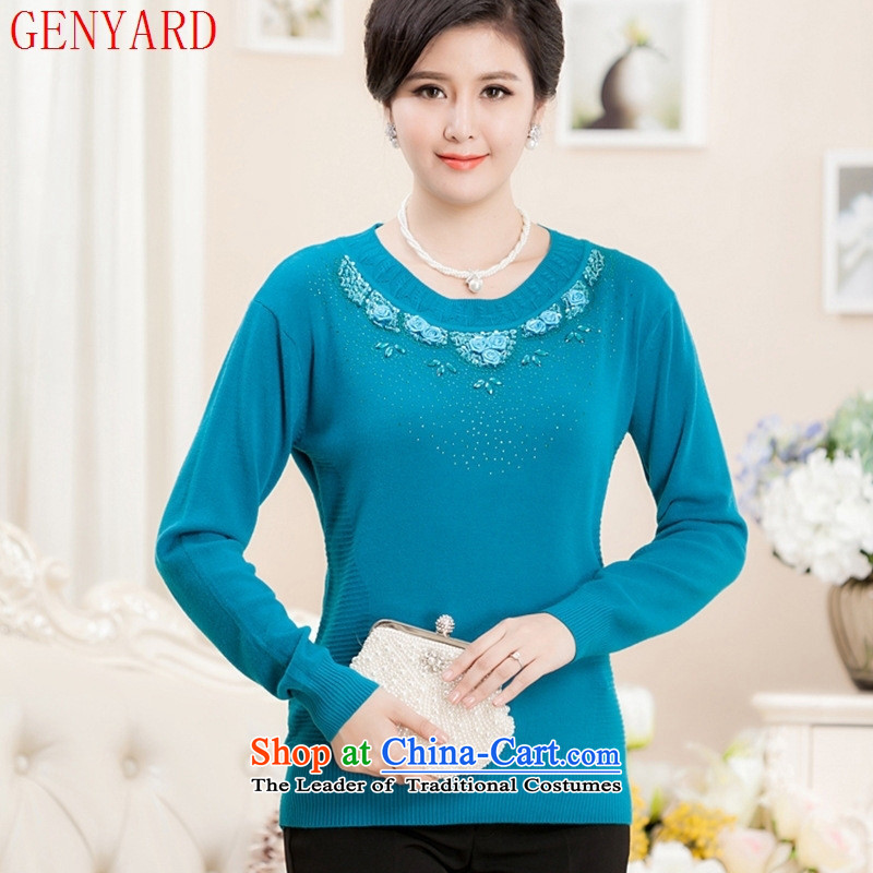 Install the latest autumn and winter GENYARD2015) mother replacing large woolen sweater relaxd the elderly in the knitwear long-sleeved T-shirt will Grass green