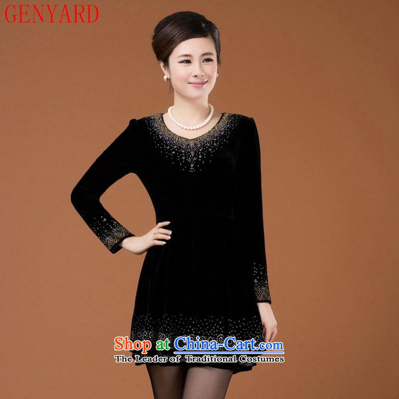 Genyard2015 autumn and winter new liberal scouring pads in large Kim older mother boxed long-sleeved dresses purple?4XL