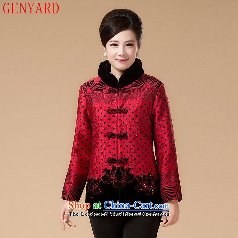 In the number of older women's GENYARD Tang dynasty cotton swab to replace the Autumn and Winter Sweater mother coat robe grandma load increase to Red?2XL