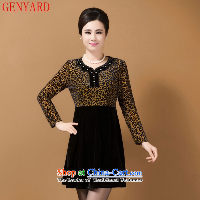 The fall of new, GENYARD2015 in older women's temperament with long-sleeved Gold Mother Sau San velvet?3XL 3