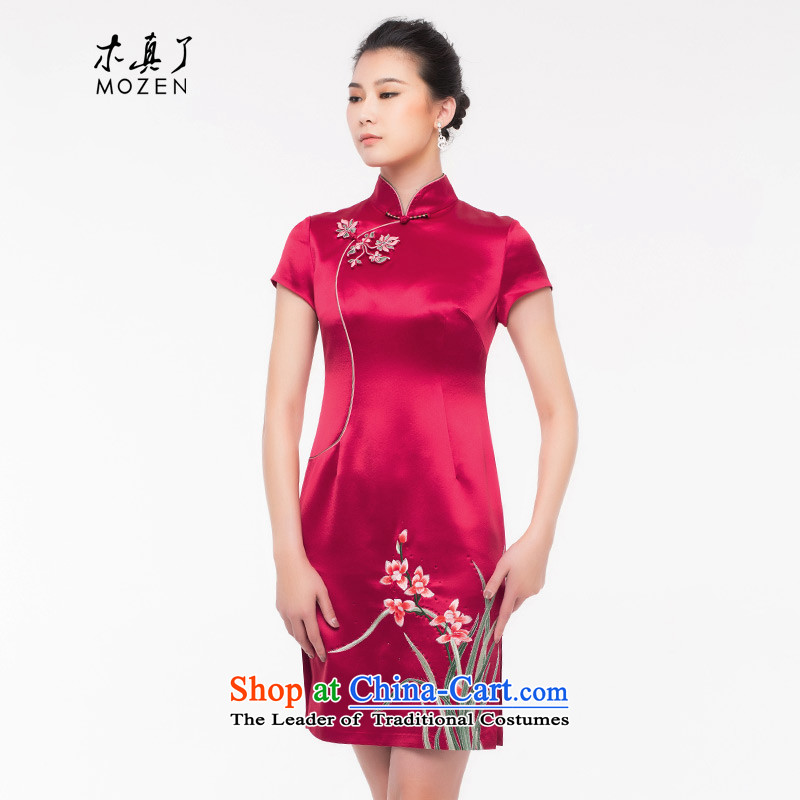 Wood, an improved cheongsam dress really 2015 autumn and winter new decorated in antique qipao Tang China wind women 0823 04 Magenta燲L