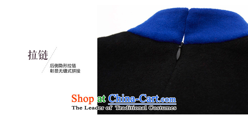 The Sau San antique wooden really cashmere qipao 2015 autumn and winter new collision color stitching gross dresses? female 43261 10聽M Deep Blue Photo, prices, brand platters! The elections are supplied in the national character of distribution, so action, buy now enjoy more preferential! As soon as possible.