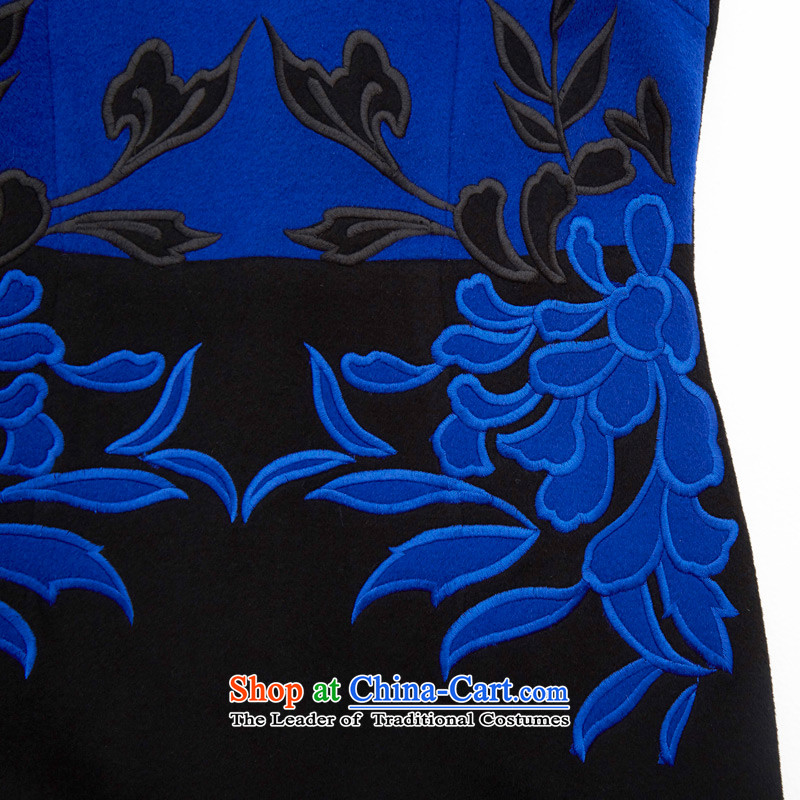 The Sau San antique wooden really cashmere qipao 2015 autumn and winter new collision color stitching gross dresses? female 43261 10 Deep Blue聽M : The True , , , shopping on the Internet