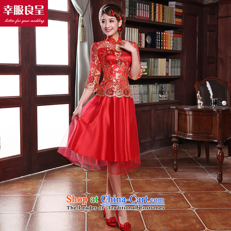 The privilege of serving the bride-leung cheongsam red Chinese wedding dress bows services improved short of the wedding dress autumn and winter in the lift mast cuff_ + model with 26 Head Ornaments燤