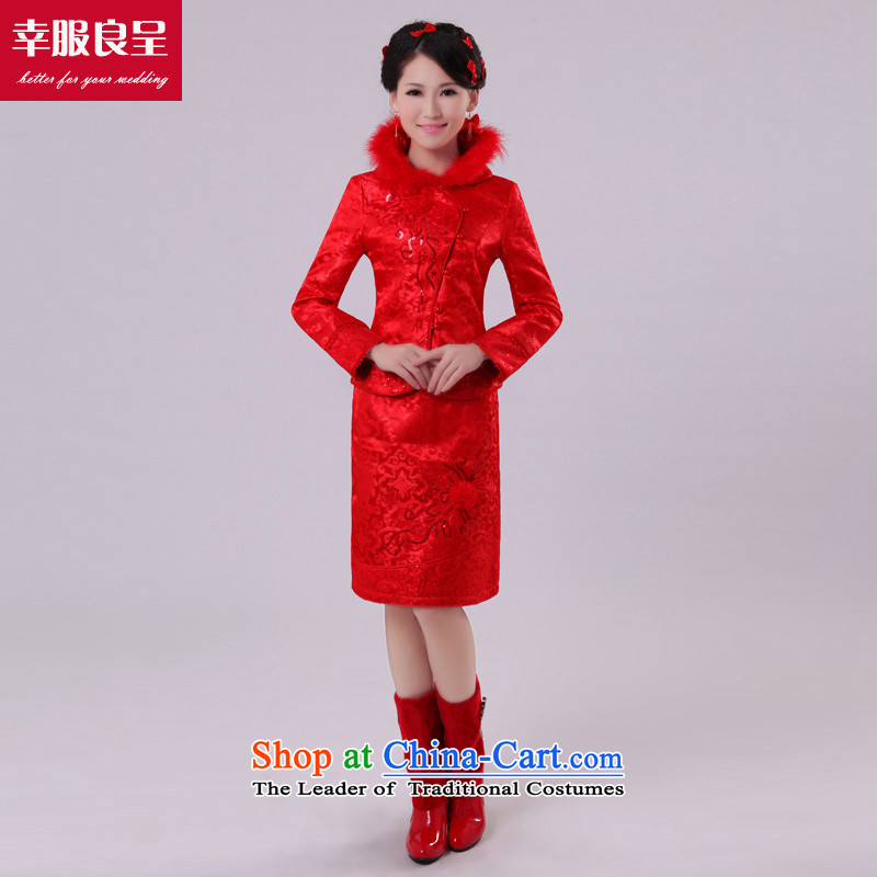 The privilege of serving-leung bows Service Bridal cheongsam dress autumn and winter, Red Chinese wedding dress short of the lift mast to female red winter) XL-44 services