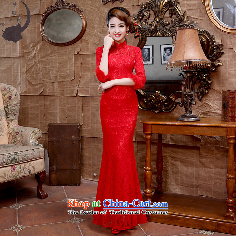 Wedding dress marriages bows 2015 Fall_Winter Collections new lace crowsfoot in 8666 Red qipao cuff RED燤