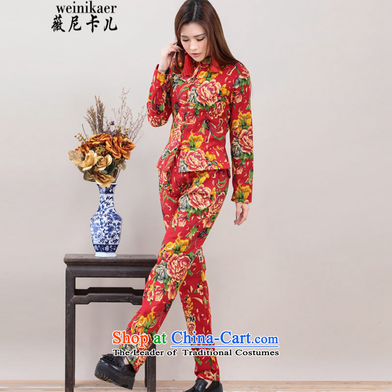 Ms Audrey Eu and childcare autumn and winter new stylish ethnic Chinese Wind Mudan stamp tray clip jacket + Leisure pants and two piece kit plus lint-free package 8058# red?XL
