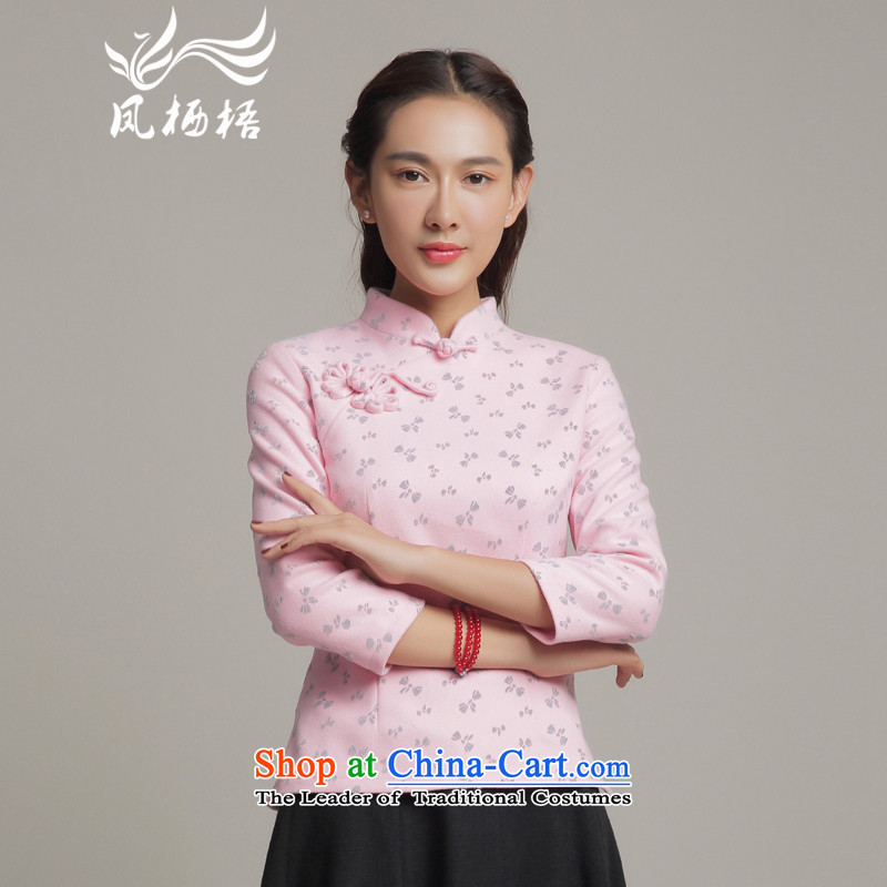 Bong-dwelling for autumn and winter 7475 new gross? TANG Sau San long-sleeved blouses elegant qipao? shirts daily gross DQ15251 pink?L