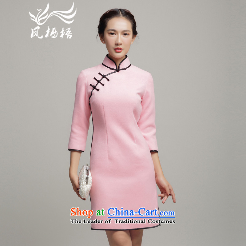 Bong-migratory winter 7475 gross qipao?2015 autumn and winter? long-sleeved improved stylish gross? cheongsam dress DQ15252 pink?S