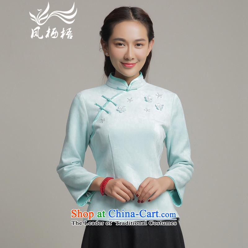 Bong-migratory autumn and winter 7475 new improved long-sleeved T-shirt and stylish qipao qipao Chinese shirt DQ15253 daily skyblue燲L