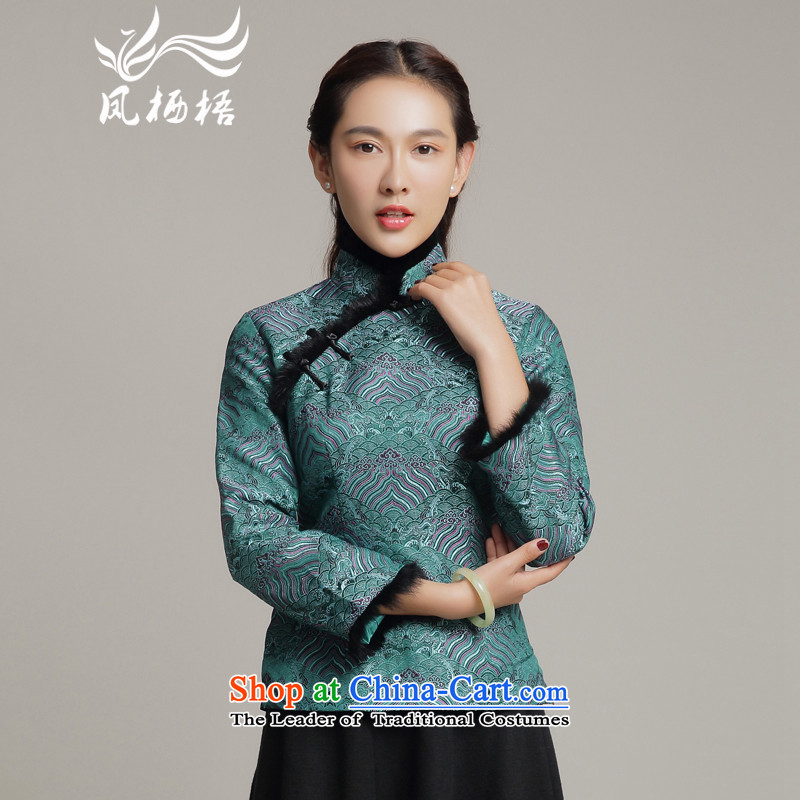 Bong-migratory 7475 2015 autumn and winter new Tang blouses, long-sleeved folder cotton Tang dynasty small dark green DQ15254 load mother coat?XXL