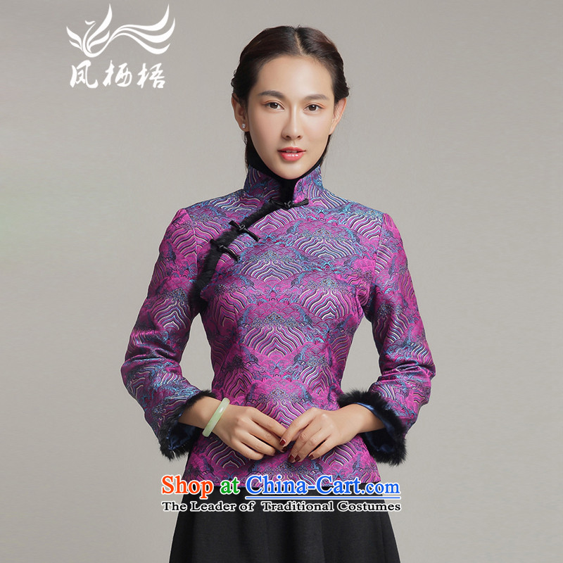 Bong-migratory 7475 2015 autumn and winter new Tang blouses winter, long-sleeved short gross cotton shirt clip qipao DQ15255 PURPLE?XL