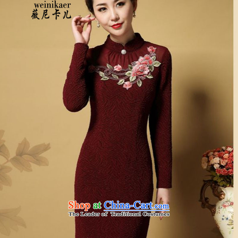 Ms Audrey EU and the elderly in the stylish look like child care qipao autumn 2015 Load Sau San new moms with larger cheongsam dress?631_?red?L