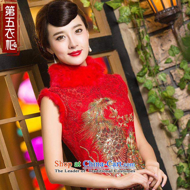 Eason Chan point cheongsam dress 2015 new winter clothing Chinese embroidery Phoenix red bride with thick hair for toasting champagne served RED?M marriage