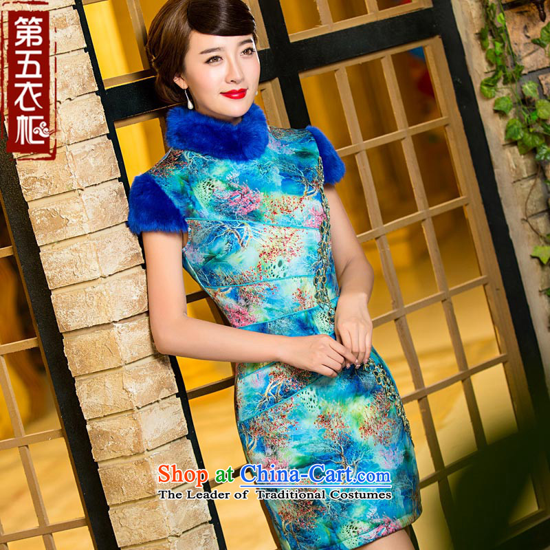 Eason Chan point new 2015 Winter_ folder to the trendy mother gross cotton with Chinese qipao wedding dress blue燬