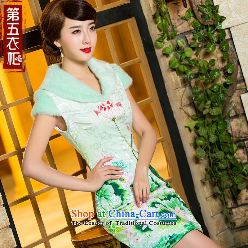 Eason Chan point new winter of 2015 Cotton Chinese ethnic folder retro hair collar cheongsam dress light green�S