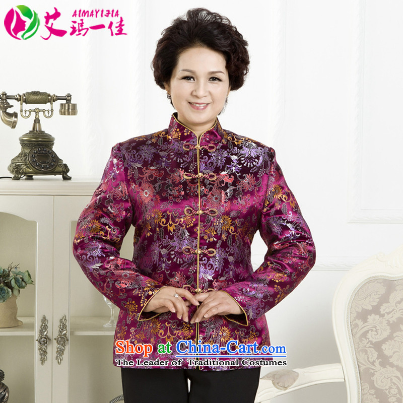 Emma one of older women's mother Fall/Winter Collections Mock-neck Tang jackets 60-100 elderly people aged between Grandma ethnic brocade coverlets thin cotton Tang dynasty aubergine XXL( recommendations about 105)